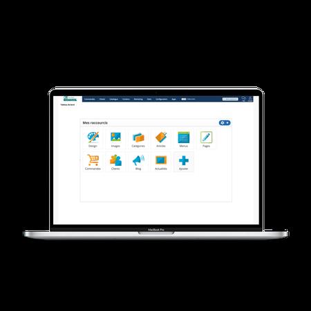 Back office pack e-commerce dans mock-up ordinateur